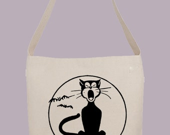Retro Halloween Black Cat illustration - Hobo Sling Tote, 14.5x14x3, Crossbody Strap, Magnetic Closure, Inside pocket