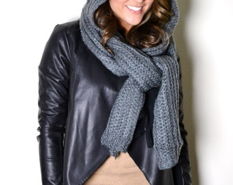 Free Knitting Pattern Scarf Hat Attached : Black & White Knitted Striped Unisex Long Chunky Thick Winter