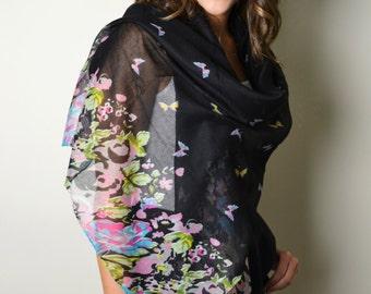SUPER SALE 18.00 Black Flowers & Butterflies Scarf, Shawl, Wrap, Cotton Blend, Butterfly Print, Floral Shawl, Black floral wrap, Boho shawl
