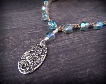 Aqua Blue Seahorse Necklace Ocean Blue Pewter and Silver Crochet Bohemian Boho Beach Chic Jewelry