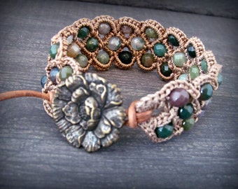 "Boho Beaded Crochet Cuff Bracelet ""Bohemian Woodland"", multi gemstones, brass and leather accents"