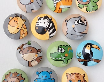 Animal Drawer Pulls / Animal Drawer Knobs / Closet Handles / Hand Painted for Boys, Girls, Kids, Nursery Rooms (Assorted Color Background)