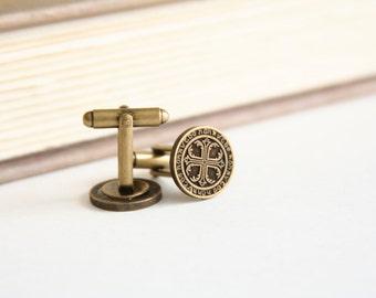 Knights of Templar Cufflinks Order of the Temple Cufflinks - made with a dark brass buttons