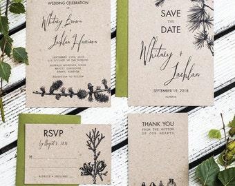 Rustic  Pine Tree Wedding Invitation Set of 4 Printable, Kraft Paper