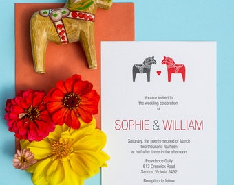 Scandinavian Dala Horse DIY Printable Wedding Invitation