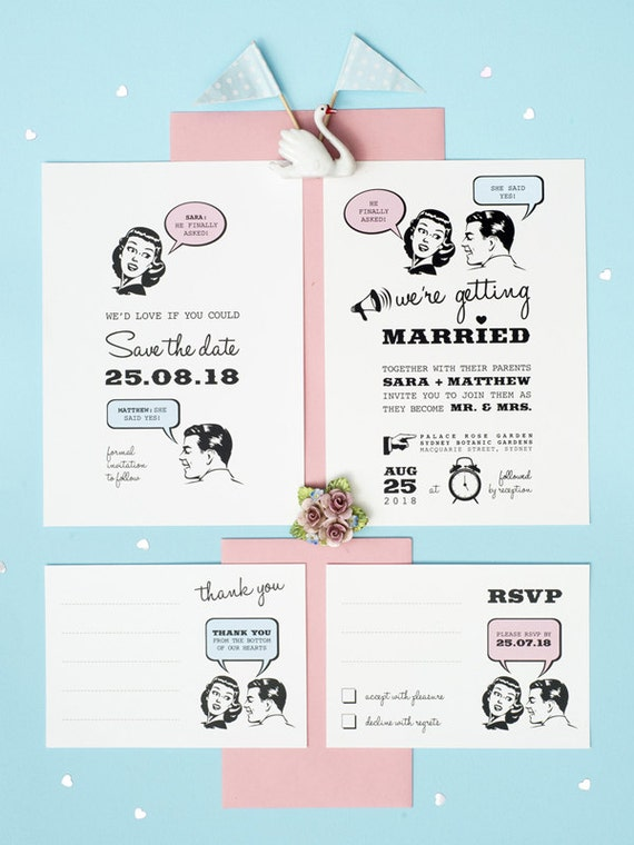 1950s retro wedding invitation set of 4 printable by