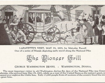 Lafayette's Visit, May 25 1825 by Malcolm Parcell Murals Depicting Early Travel The National Pike Vintage Postcard George Washington Hotel