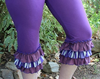 Ruffled Pixie Purple Striped Crop Pants/ Leggings