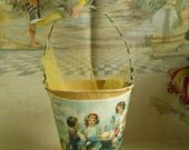 French Paper Mache and Wire Easter Pail With Silk Ribbons And Tulle Front Picture Children With Easter Eggs and Baby Chick Made in France