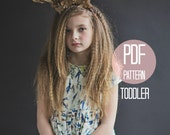 DRESS PATTERN Peter Pan Collar Dress in Baby Girls Toddler Sizes 18-24 months, 2t, 3t Easy Sewing Pattern