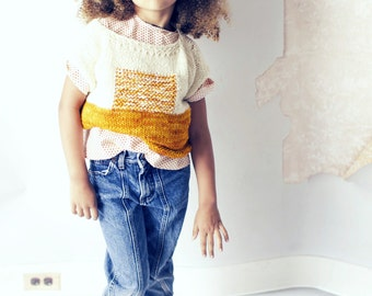 Sunrise Girls Hand Knit Wool Sweater. Knit Cropped Pullover. Hand Dyed Merino Wool Sweater. Yellow Wool Sweater. Kid Baby Knit Clothing.