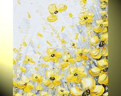 """GICLEE PRINTS Art Yellow Grey Abstract Painting Wall Decor Flowers Modern Textured Coastal Canvas Print Gold White XL size to 60"""" -Christine"""