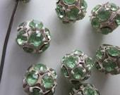 Six Vintage Light Green  Rhinestone beads