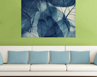 Nature Macro Photography Fine Art Wall Sticker Decal – Blue Skeleton Leaves by Ingrid Beddoes