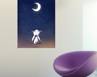 Anime Moon and Rabbit Wall Sticker Decal – Moon Bunny by Indre Bankauskaite