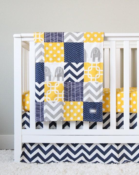 Yellow and navy blue crib bedding grey elephant baby bedding - Navy blue and yellow bedding ...