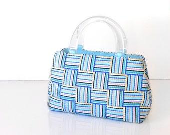 "purse, handbag, italy, stripes,13"",  patchwork, robins egg blue, Bertini, lucite"