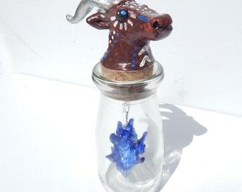 Goat bottle blue flame pendulm art bottle sculpture occult tribal spooky decor