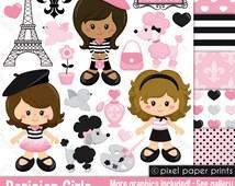 Parisian Girls - Clip art and digital paper set - Paris clipart