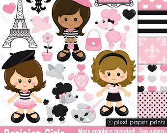 Paris clipart- PARISIAN GIRLS - Clip art and digital paper set