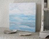 SEAWATER Original Painting  6 x 6 Archival Canvas Nordic Coastal Living Seaside Cottage Beach House Home Decor