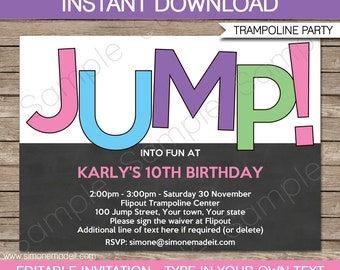 Trampoline Invitation Template - Birthday Party - Girls - INSTANT DOWNLOAD with EDITABLE text - you personalize at home