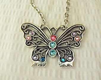 Silver Pendant Necklace,    Butterfly With Rhinestones Necklace  Womens Gift Handmade