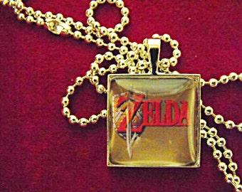 Silver Pendant Necklace , Zelda Video Game Image, Mens Womens Gift  Handmade