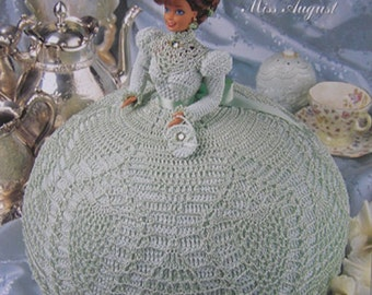 Annie's Attic Crochet Bed Doll Pattern Gems of the South Miss August Barbie Doll Dress