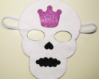 Skull Halloween mask cute White Pink glitter crown handmade soft felt accessory Day of the Dead Monster party girl costume Dress up play