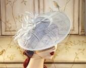 Ivory Wedding Fascinator Hat -  Tea Party Hat - British Wedding Fascinate Hat, Kate Middleton Derby Hat