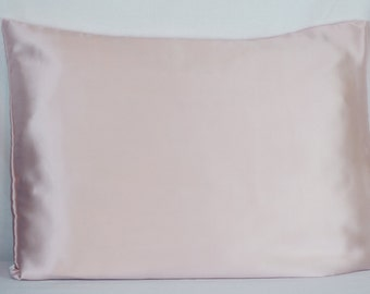 Silk Pillowcase Envelope Closure Light Pink Mulberry Silk Charmeuse Standard & King Size, Bedding for Sensitive Skin and Hair Care