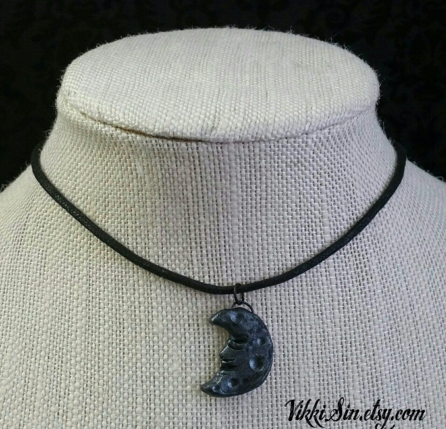 Man in the Moon Handmade Charm Choker Necklace by VikkiSin