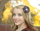 Plum Satin Hair Flower Purple Bridal Flower Hair Clip Bridesmaids Wedding Hair Accessories Rhinestones Wedding Party Flower Girl