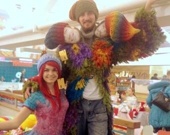 "NEW! Chunky bulky knitted boho rainbow slouch beanie hat ""Warm Rainbow"" in natural sheep wool"