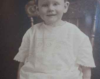 Vintage Photograph of a Toddler Little Boy in a Metal Oval Frame