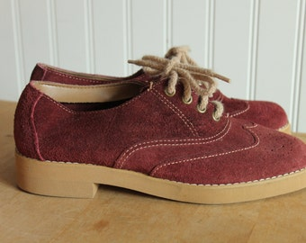 Maroon Suede Oxfords Chandlers 6
