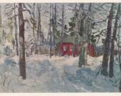 "V. Burlakov ""Landscape"" Postcard -- 1969, Soviet Artist Publ."