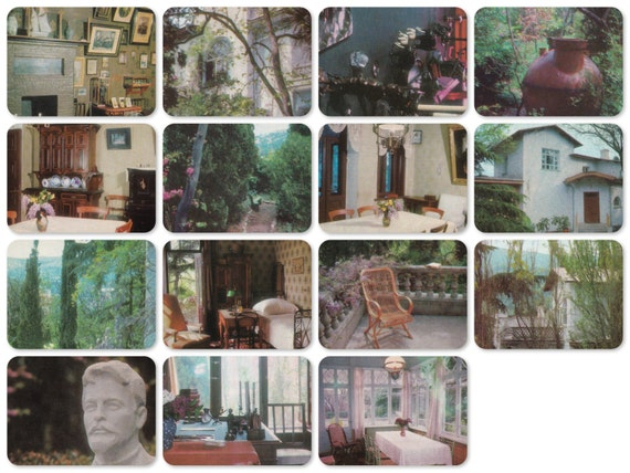 Anton Chekhov's Memorial Home in Yalta. Set of 15 Vintage Photo Prints, Postcards - 1974. The Planet Publ., Moscow