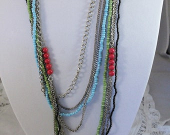 Long Multi Strand Silver And Colorful Bead Chain Necklace
