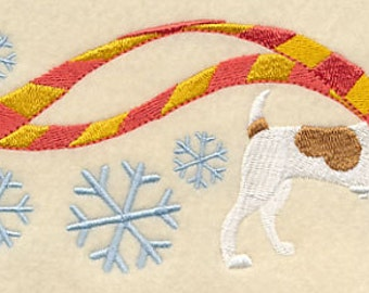 Wrapped Up in Winter Jack Russel Terrier Embroidered Flour Sack Hand/Dish Towel
