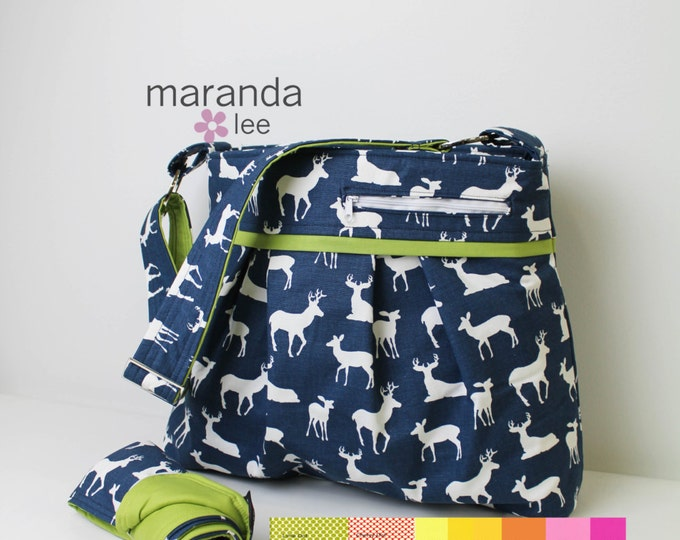 Stella DELUXE Diaper Bag Set with Changing Mat Large- Navy Deer with CUSTOM Accent- Nappy Bag Baby Gear  Attaches to Stroller