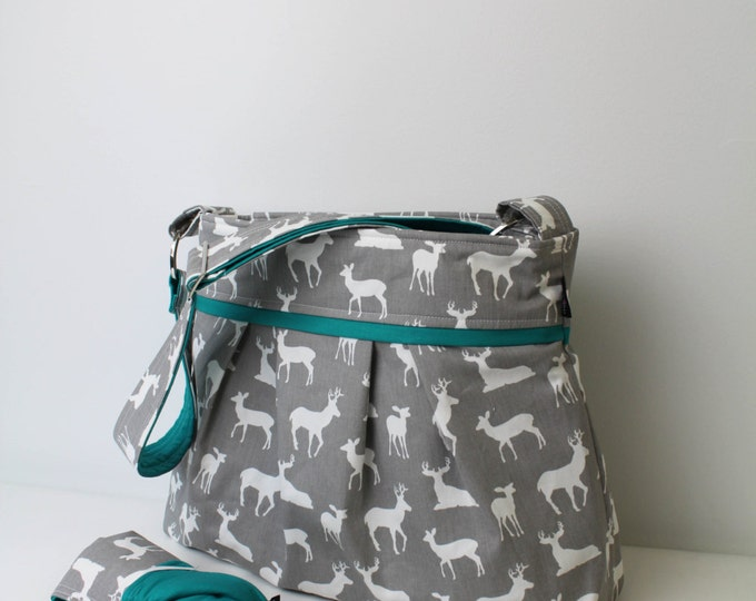 Stella Bag Set with Changing Mat Large- Grey Deer with Teal