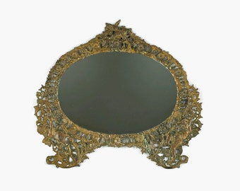 Antique Victorian Gilded Cast Iron Frame with Reticulated Detail - Wall Mirror