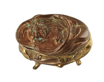 Antique NB Rogers Art Nouveau Cherub and Floral Gilded Jewelry Casket/Trinket Box