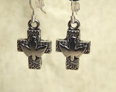 Silver Plated Pewter Cross With Dove Earrings