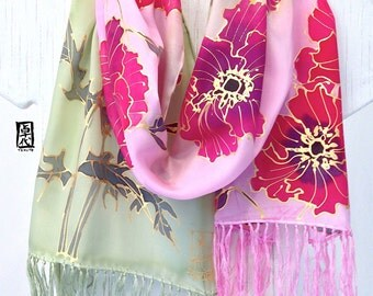 Hand Painted Silk Scarf, Pink Silk Fringed Scarf, Japanese Silk Floral Scarf, Pink and Red Poppies Scarf. Silk Scarves Takuyo, 11x60 inches.
