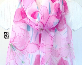 Silk Scarf Handpainted, Pink Floral Silk Chiffon Scarf, Pink Silk Scarf, Pink Lilies Wisper, Silk Takuyo, 11x60 inches. Made to order