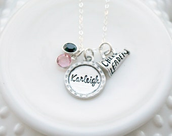Personalized Cheer Necklace - Cheerleader Necklace - Megaphone Necklace - Cheer Team Colors