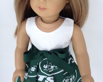 18 inch Doll game day dress made from NY Jets fabric, made to fit 18 inch dolls such as American Girl and similar 18 inch dolls